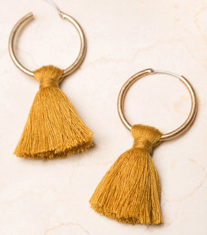 Tassel Queen Earrings-Mustard
