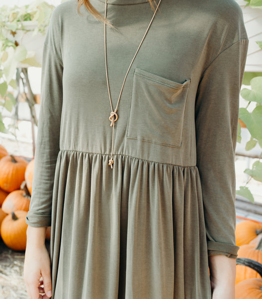 Casual Pocket Tee Dress-Olive