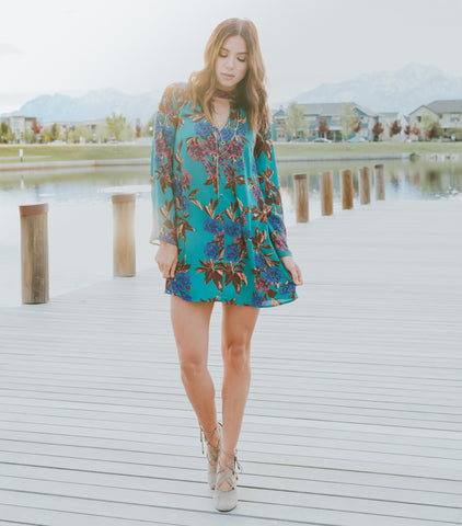 Spring Greens Dress - Dark Teal