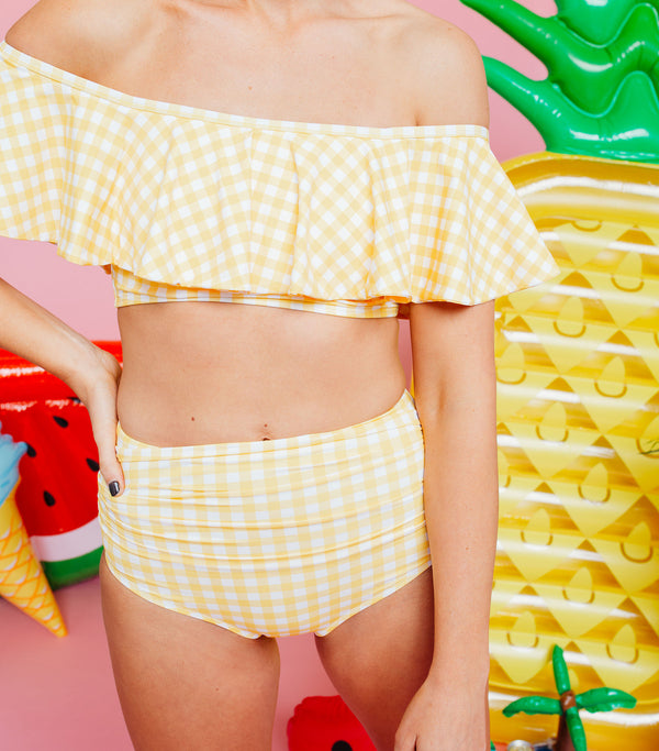 Bombshell Bottom- Yellow Gingham