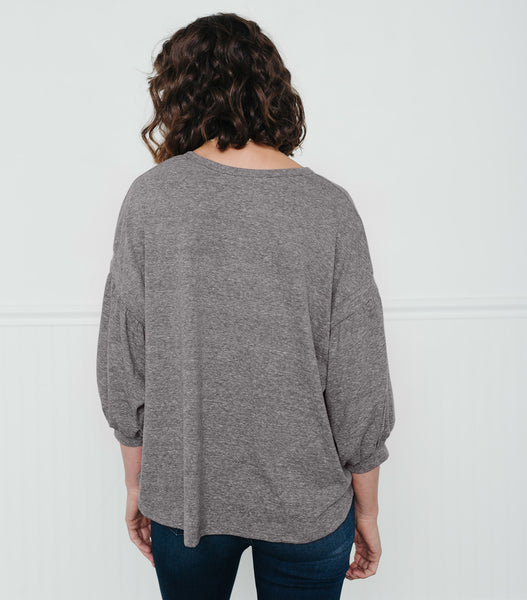 Easy Peasy Pull Over Top-Grey