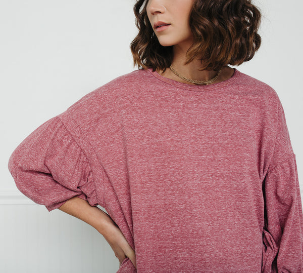 Easy Peasy Pull Over Top-Marsala
