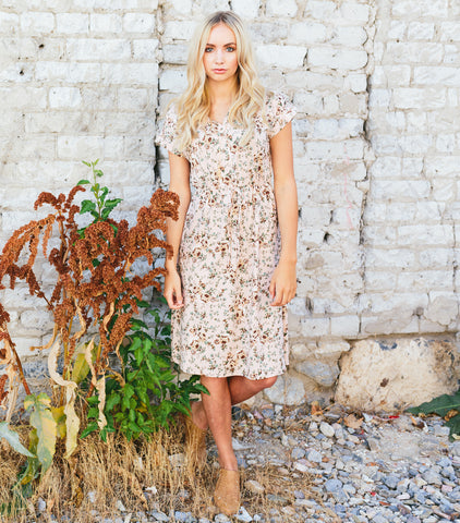 Tiny Greens Floral Dress - Mauve