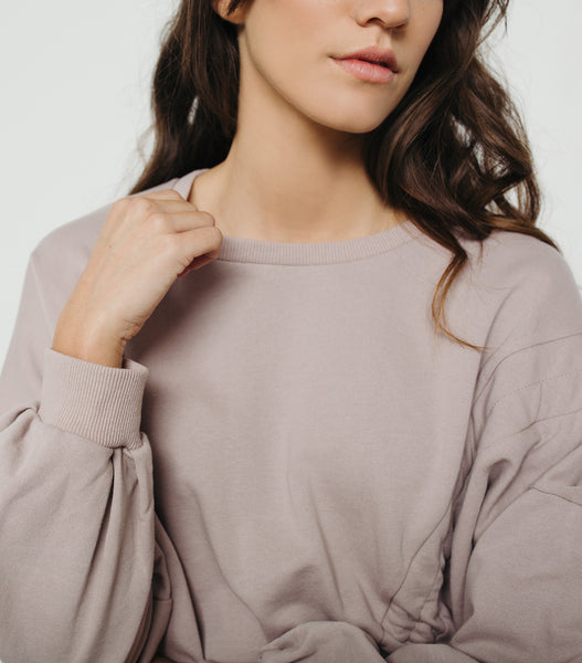 Cinched Tie Pull Over Sweater-Hushed Violet