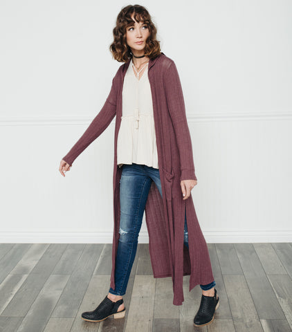 Dramatic Duster Cardi-Wine