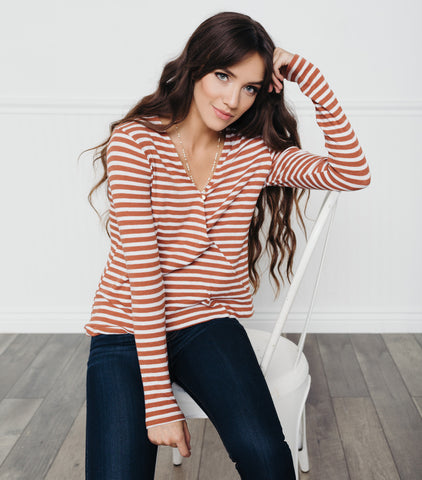 Stripe Wrap Tee-White Rust