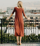 Easy Does It Dress-Red/Brown