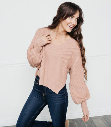 Cool & Cozy Sweater- Blush