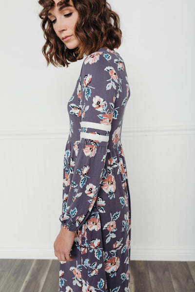Rugby Stripe Floral Dress-Plum
