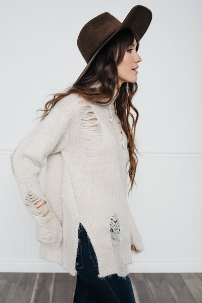 Falling for You Distressed Sweater-Cream