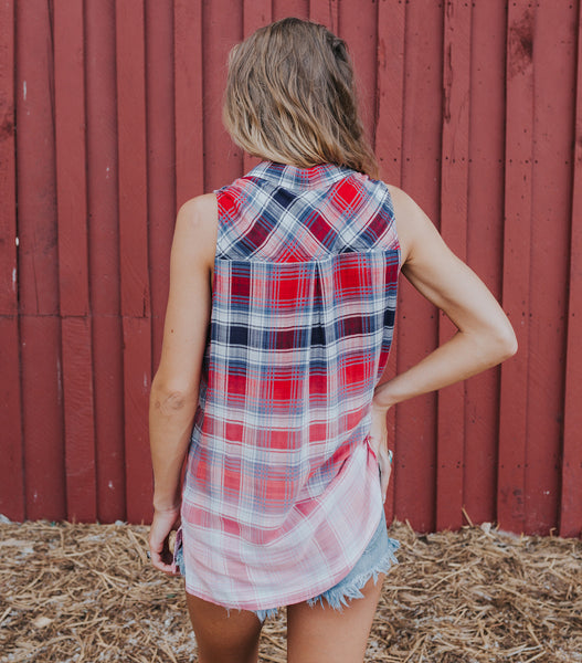Summer Plaid Tank- Red/Navy