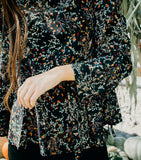 Dainty Babydoll Floral Blouse-Black