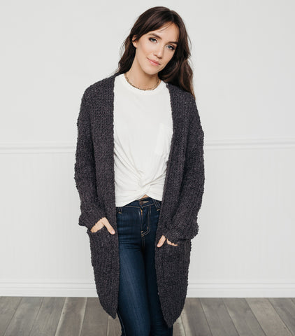 Light & Easy Cardigan-Charcoal