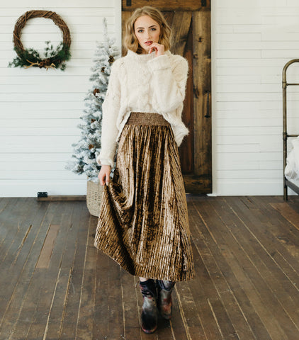 Holiday Feels Velvet Skirt-Gold