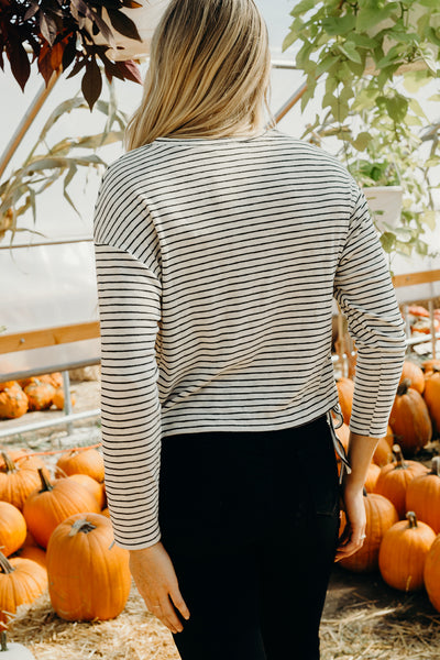 Lace Up Side Stripe  Crop Tee