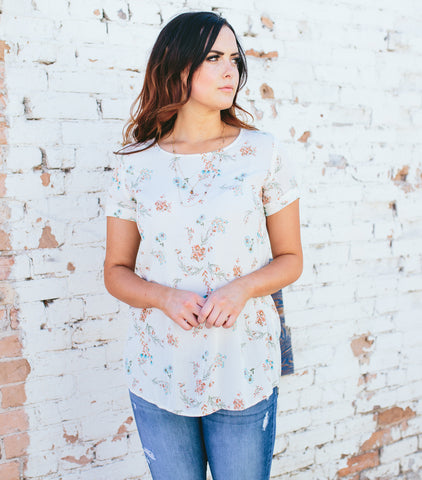 Lovely Floral Blouse- Ivory