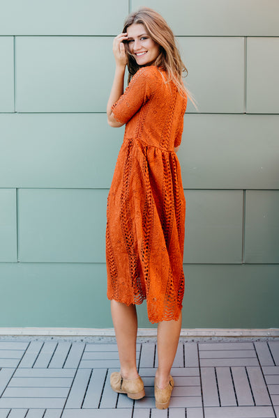 Lightly Laced Dress-Brick
