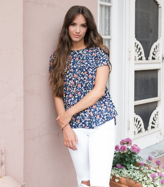 Sweet Crush Peplum Blouse - Navy