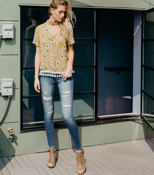 Wildflower Tassel Blouse-Mustard