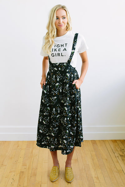 Floral Overall Skirt - Black