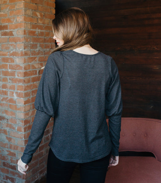 Sweet & Subtle Top-Charcoal