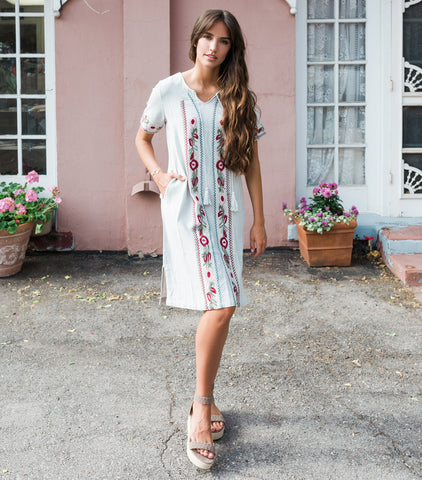 Jade Embroidered Dress - Lake Sage