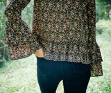 Dainty Floral Bell Sleeve Blouse
