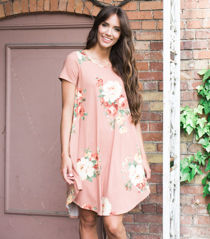 Soft Floral Tee Dress - Mauve