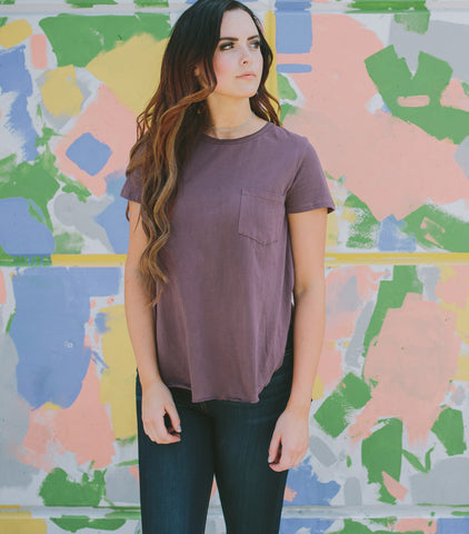 Simplicity Pocket T-Shirt-Plum