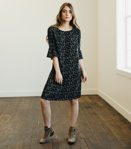 Exaggerated Shift Dress-Black Floral