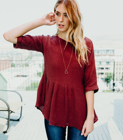 Fall Field Peplum Blouse-Red/Brown
