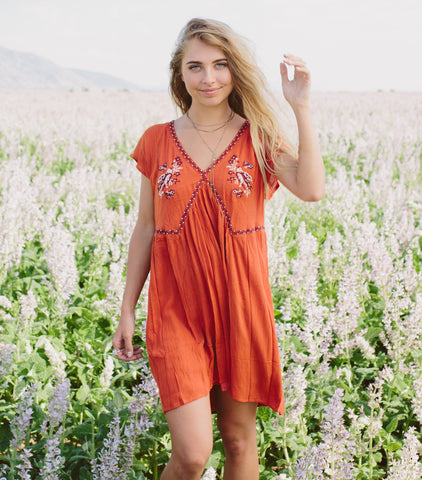Red Stone Embroider Dress