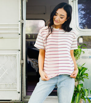 Unbalanced Top-Pink/Ivory