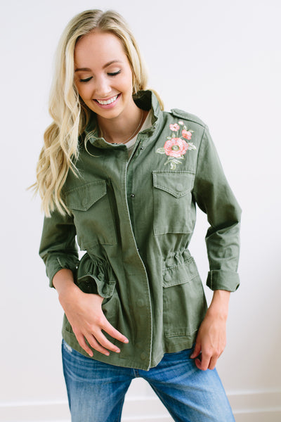 Floral Embroidered Military Jacket