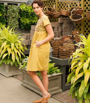 Embroidered Babydoll Dress- Mustard