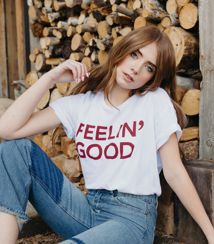 Feelin' Good Tee-White