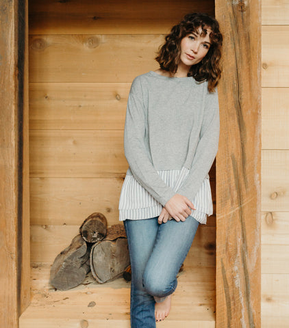 Simple Lines Sweater- Heather Grey
