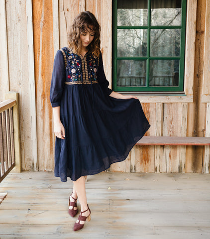 Embroidered Tiered Babydoll Dress-Navy