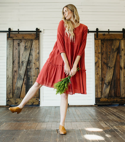 Beverly Tiered Dress- Rust