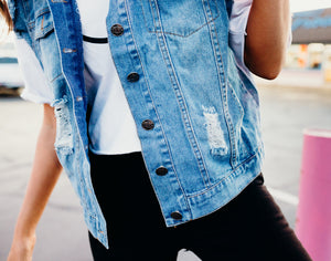 Distressed Wash Denim Vest