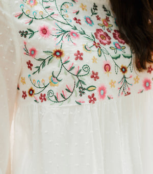 Kenna Embroidered Babydoll Blouse