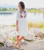 Floral Embroider Dress - White