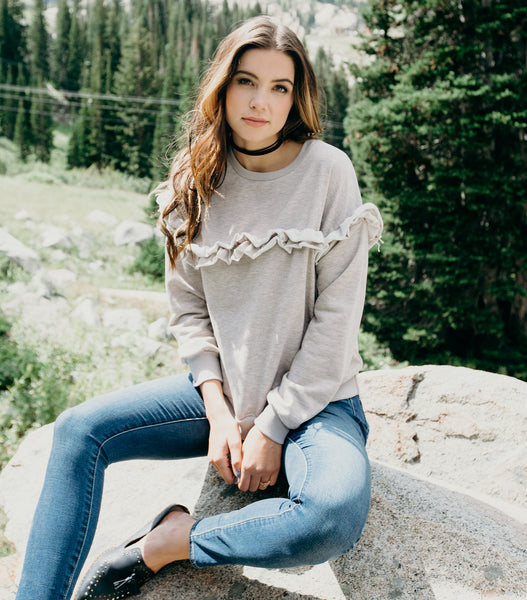 Cloud 9 Ruffle Sweater-Taupe
