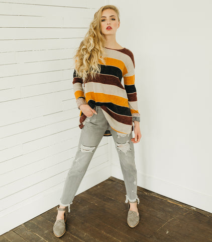 Retro Stripe Pull Over Sweater -Multi