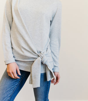 Knot Bottom Sweater-Grey
