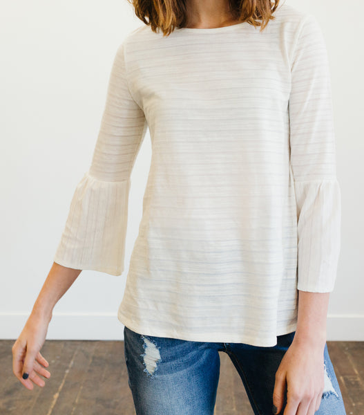 Bell Sleeve Top-Ivory