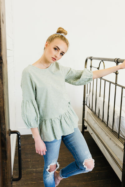 Solid Textured Babydoll Blouse-Sage