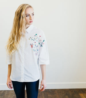 Emma Embroidered Blouse-Ivory