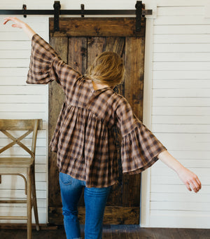 Girl Gang Plaid Top-Brown/Black