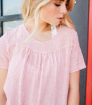 Pretty Pinstripe Blouse-Red